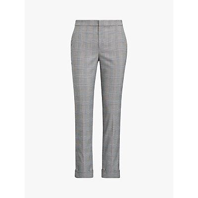 Polo Ralph Lauren Artine Glen Plaid Slim Trousers, Black/Cream