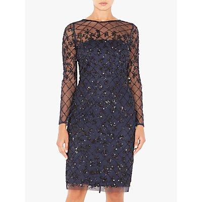 Adrianna Papell Short Beaded Dress, Blue/Black