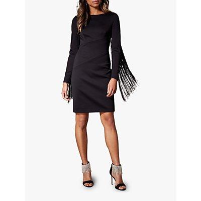 Karen Millen Fringed Sleeve Dress, Black