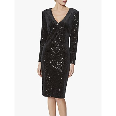 Gina Bacconi Celeste Velvet Sequin Dress, Black