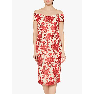 Gina Bacconi Jazelle Floral Dress, Crimson