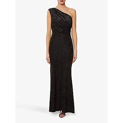 Gina Bacconi Novella Metallic One Shoulder Dress, Black Metallic