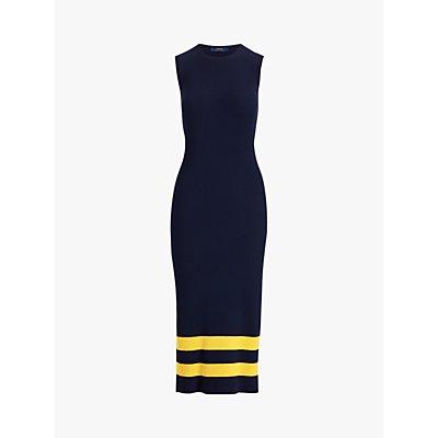 Polo Ralph Lauren Sleeveless Bodycon Stripe Wool Dress, Navy/Gold