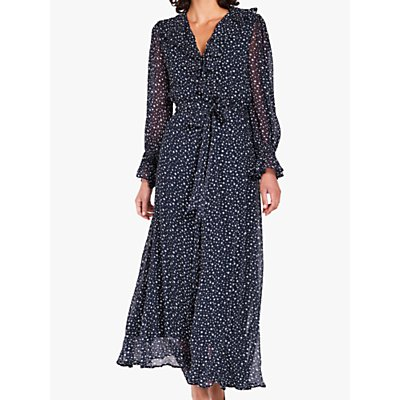 Ghost Star Print Ruffle Detail Maxi Dress, Navy