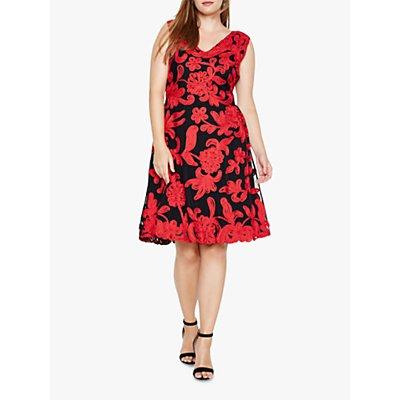 Studio 8 Ottoline Floral Tapework Dress, Black/Red