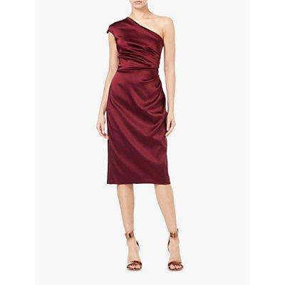 Adrianna Papell Stretch Satin One Shoulder Dress, Garnet