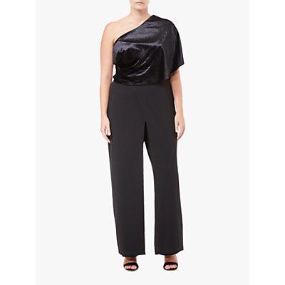 Adrianna Papell Crepe One Shoulder Jumpsuit Petite, Black