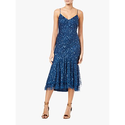 Adrianna Papell Beaded Fishtail Midi Cocktail Dress, Deep Blue