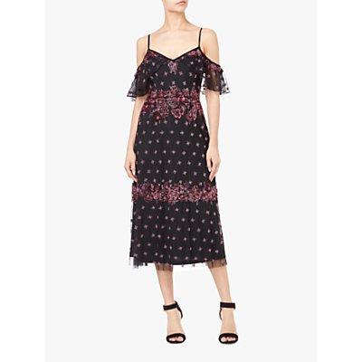 Adrianna Papell Drop Shoulder Beaded Midi Dress, Black/Multi