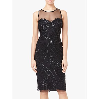 Adrianna Papell Sheer Neckline Beaded Cocktail Dress, Black