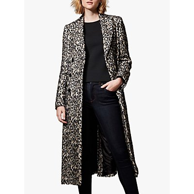 Karen Millen Long Tailored Coat, Leopard Print