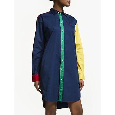 Polo Ralph Lauren Colour Block Shirt Dress, Blue Fun
