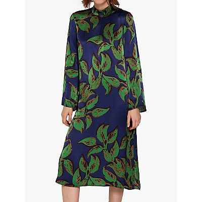 Ghost Maya Satin Dress, Matisse Green Leaf