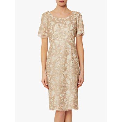 Gina Bacconi Liliana Floral Gold Dress, Beige