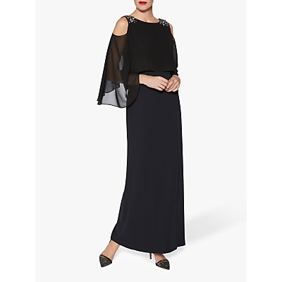 Gina Bacconi Penelope Beaded Cold Shoulder Maxi Dress