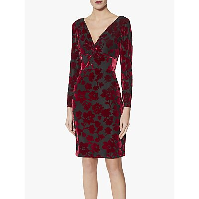 Gina Bacconi Fatima Velvet Knot Front Dress, Black/Red