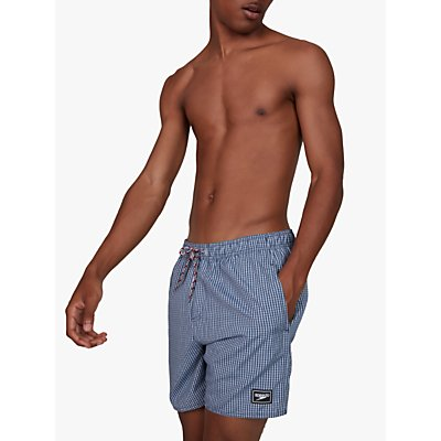 Speedo Gingham Check Leisure 16 Watershort Swim Shorts, Blue