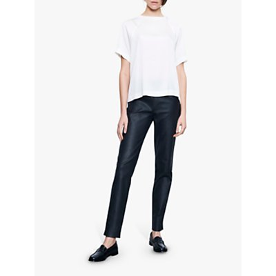 Winser London Waxed Slim Trousers, Black