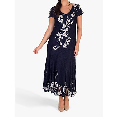 Chesca Cornelli Lace Dress, Navy/Ivory