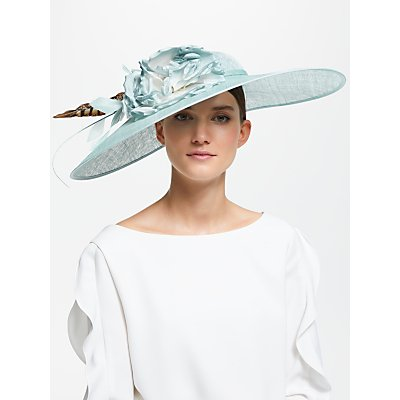 John Lewis & Partners Blake Floral Feather Down Brim Disc Occasion Hat, Blue Sorbet