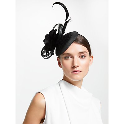 John Lewis & Partners Gloria Pillbox Feather Fascinator, Black