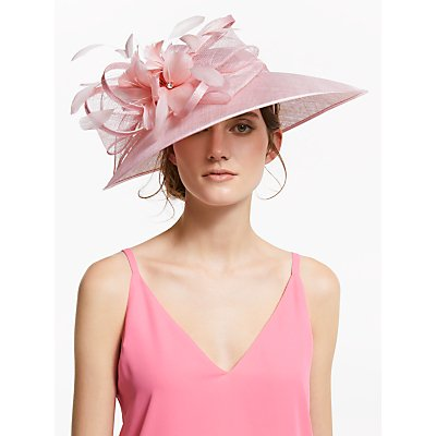 John Lewis & Partners Angelina Floral Down Brim Disc Occasion Hat, Chalk Pink