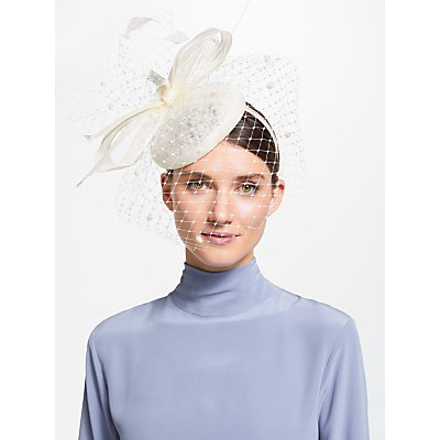 John Lewis & Partners Sianne Sinamay Pillbox Veil Bow Fascinator