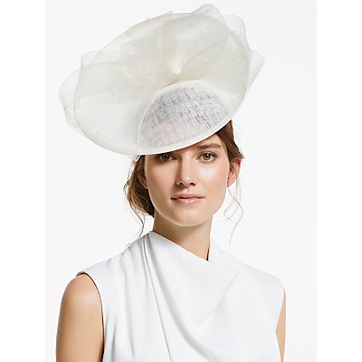 John Lewis & Partners Pearl Bow Up Turn Disc Occasion Hat, White