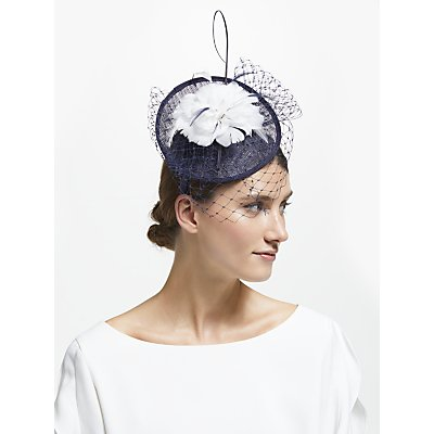 John Lewis & Partners Camille Disc Feather Veil Fascinator, Navy