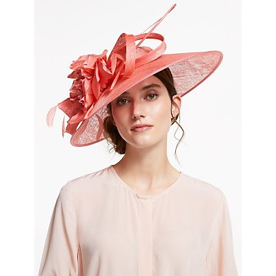 Vixen Millinery Teagan Flower Detail Disc Occasion Hat, Living Coral