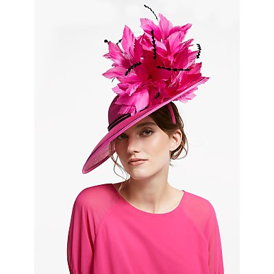 Snoxells Brooklyn Quills Side Up Disc Occasion Hat, Fuchsia