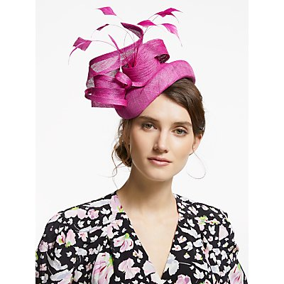 Snoxells Yvonne Quills and Loops Pillbox Fascinator, Magenta