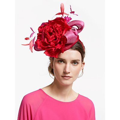 Snoxells Giselle Rose Pillbox Fascinator, Fuchsia/Red