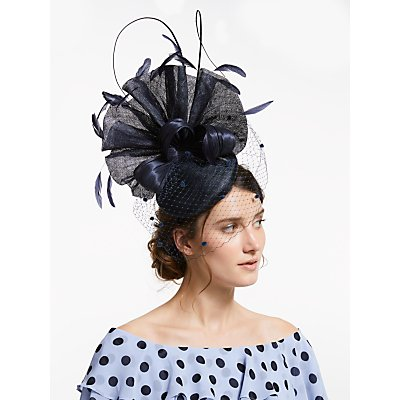 Snoxells Miranda Pleat Veil Pillbox Fascinator, Navy