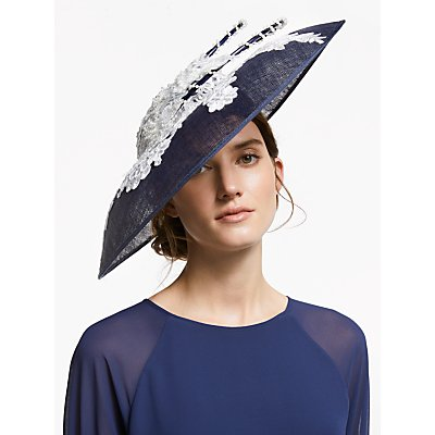 Snoxells Lily Flower Embroidery Faux Pearl Disc Occasion Hat, Navy/Ivory