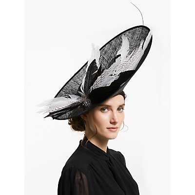Snoxells Roslyn Feather Quills Side Up Disc Occasion Hat, Black/White