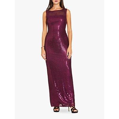 Adrianna Papell Sequin Long Dress, Rich Raisin