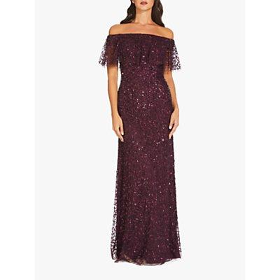Adrianna Papell Beaded Long Maxi Dress, Night Plum