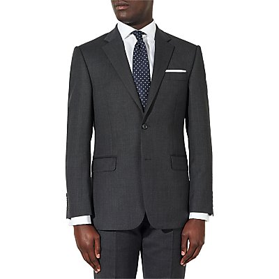 John Lewis & Partners Birdseye Wool Suit Jacket, Charcoal, Regular