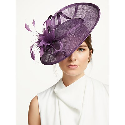 John Lewis & Partners Veronica Feather Quills Disc Occasion Hat, Damson