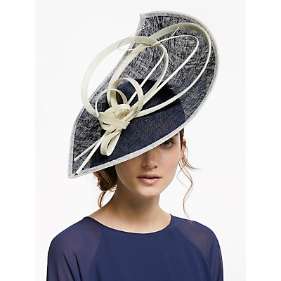 John Lewis & Partners Serena Leaf Disc Occasion Hat, Navy/Ivory