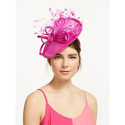 John Lewis & Partners Cara Feather Quills and Loop Disc Occasion Hat, Magenta