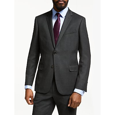 John Lewis & Partners Birdseye Wool Suit Jacket, Charcoal, Slim