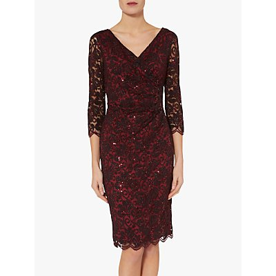 Gina Bacconi Iniki Lace Dress, Red/Black