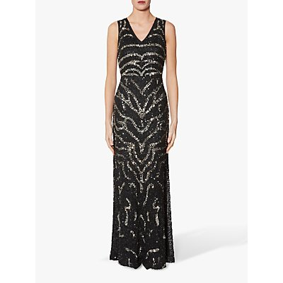Gina Bacconi Sorsha Beaded Dress, Black/Silver