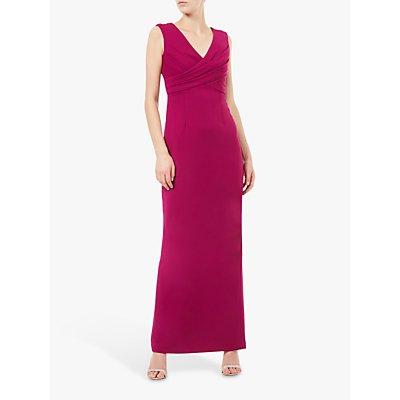 Adrianna Papell Long Crepe Sleeveless V-Neck Dress, Plum