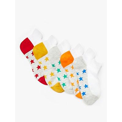 John Lewis & Partners Boys' Star Trainer Liner Socks, Pack of 5, Multi