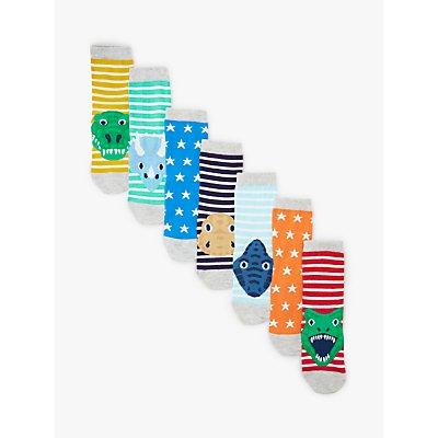 John Lewis & Partners Boys' Dinosaur Socks, Pack of 7, Multi