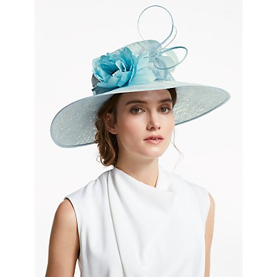 John Lewis & Partners Grace Flower Detail Wide Brim Occasion Hat, Powder Blue
