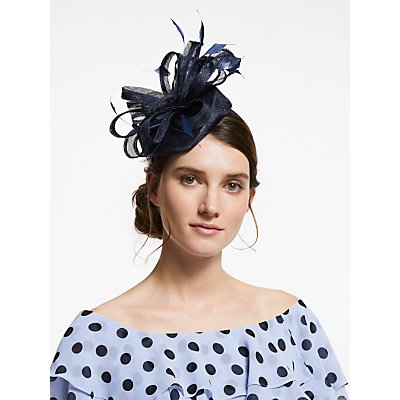 John Lewis & Partners Tara Loops Pillbox Fascinator, Navy